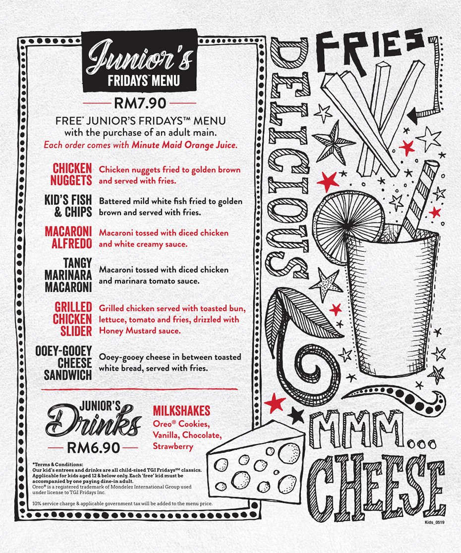 TGIF Juniors Menu